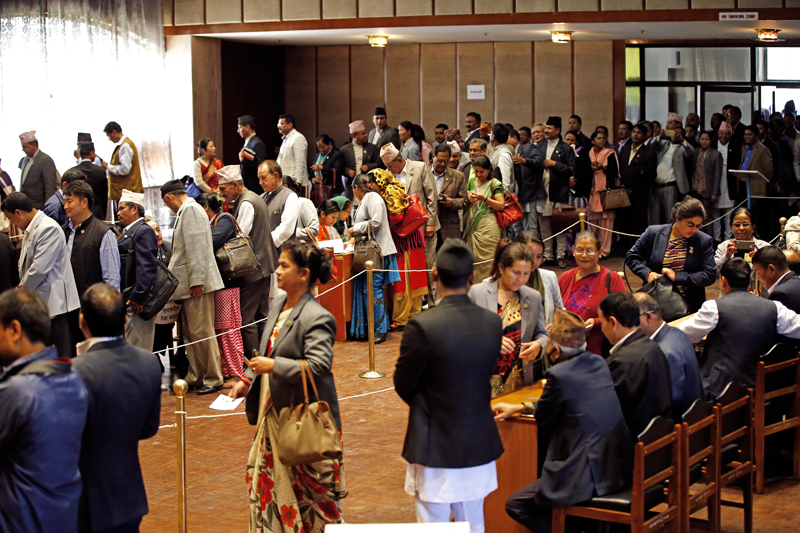 Lawmakers lining up to cast their votes in the presidential election held at the Legislature-Parliament building in New Baneshwor on Wednesday, October 28, 2015. Photo: Skanda Gautam/ THT
