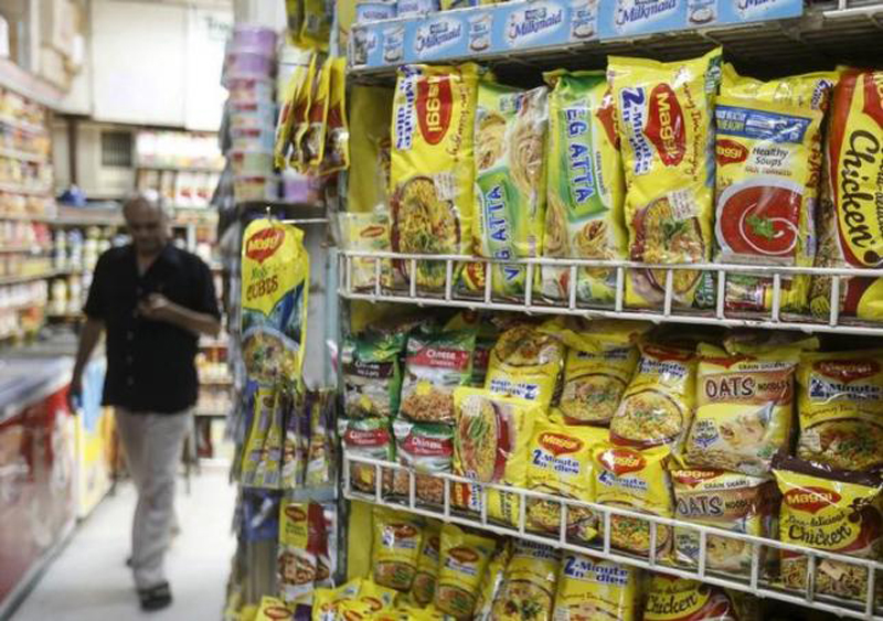 Packets of Nestle's Maggi instant noodles are seen on display at a grocery store in Mumbai, India, June 4, 2015.  Photo: Reuters