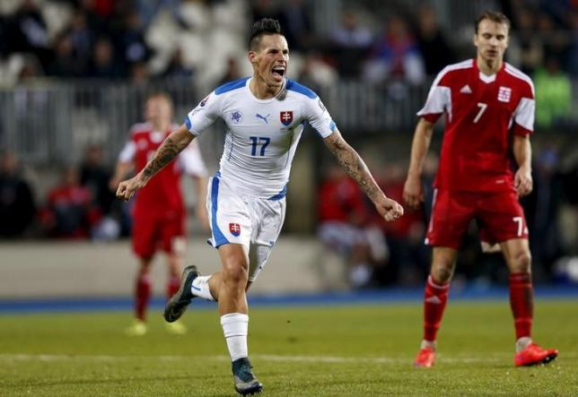 Slovakia's Marek Hamsik celebrates after scoring against Luxembourg during their Euro 2016 group C qualification match at the Josy Barthel stadium in Luxembourg, October 12, 2015.  REUTERS/Francois Lenoir