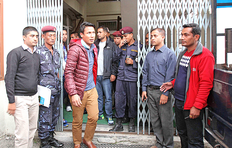 Match-fixing accused footballers exiting out of the  Special Court at Babarmahal, on Tuesday, October 27, 2015. Photo: Udipt Singh Chhetry/ THT