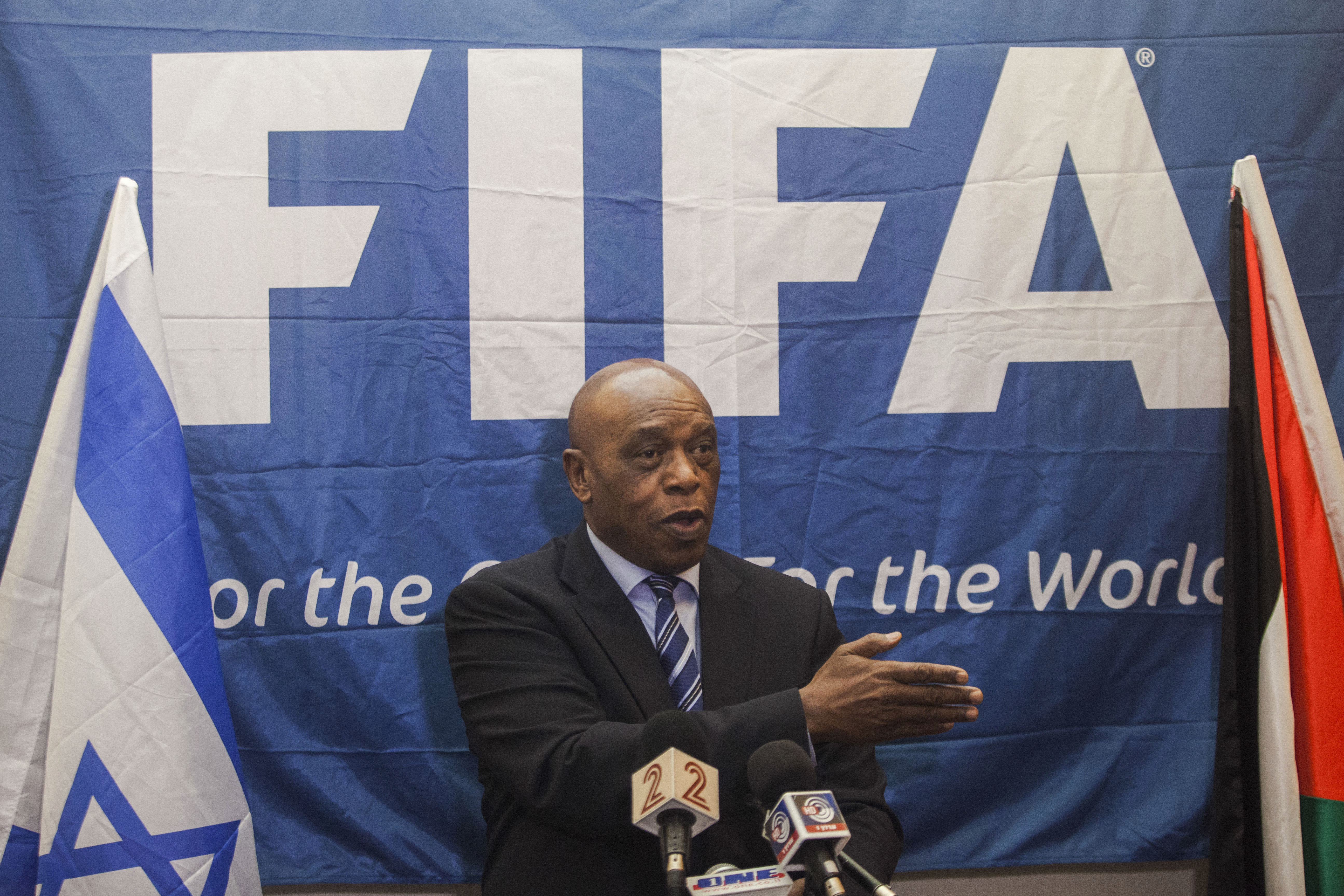 Chairman of the FIFA Monitoring Committee Israel-Palestine, Tokyo Sexwale  speaks to the media during a press conference in Tel Aviv, Israel, Friday, Oct. 2, 2015. Sexwale, who was an anti-apartheid campaigner and former political prisoner on Robben Island, is still deliberating over whether to stand in the FIFA presidential election. u0093There is a still a deadline ... but we still have some days and I am sure that in the right time I will make an announcement,u0094 Sexwale said in the conference Friday where he headed a meeting on Israeli-Palestinian football relations.  (AP Photo/Dan Balilty)