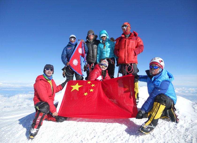 Mountaineers on the top of Mt Denali in North America. Photo: Da Ongchhu Sherpa