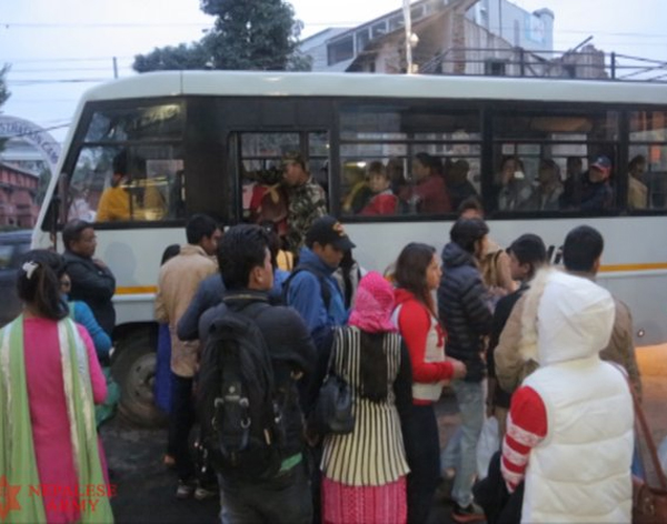 A Nepal Army bus carrying passengers in Kathmandu on October 30, 2015.