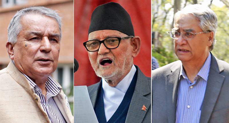 (From left) Nepali Congress Vice president Ramchandra Paudel, Prime Minister Sushil Koirala and Senior leader Sher Bahadur Deuba. Photos: RSS