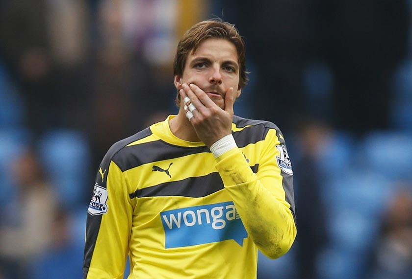 Newcastle's Tim Krul looks dejected at the end of the match. Photo: Reuters