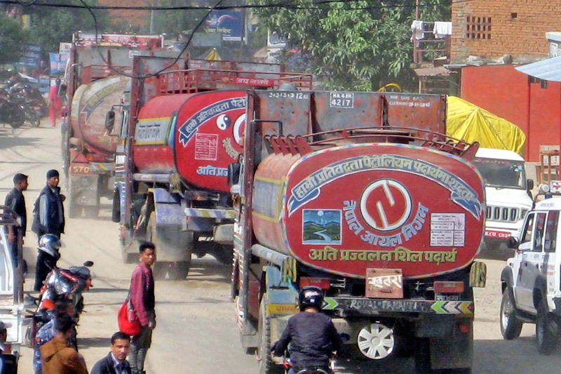Nepal Oil Corporation (NOC) tankers leaving for Rasuwagadhi border point to ferry oil from China, in Rasuwa, on Friday, October 30, 2015. Photo: RSS
