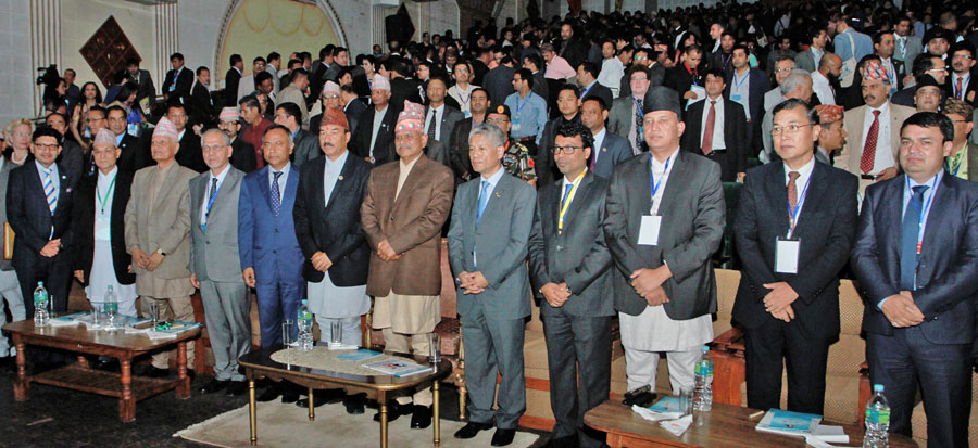 President Dr Ram Baran Yadav and Deputy Prime Minister Kamal Thapa during the 7th International General Assembly and Global Conference of the Non-Resident Nepali Association (NRNA) in Kathmandu. Photo: RSS