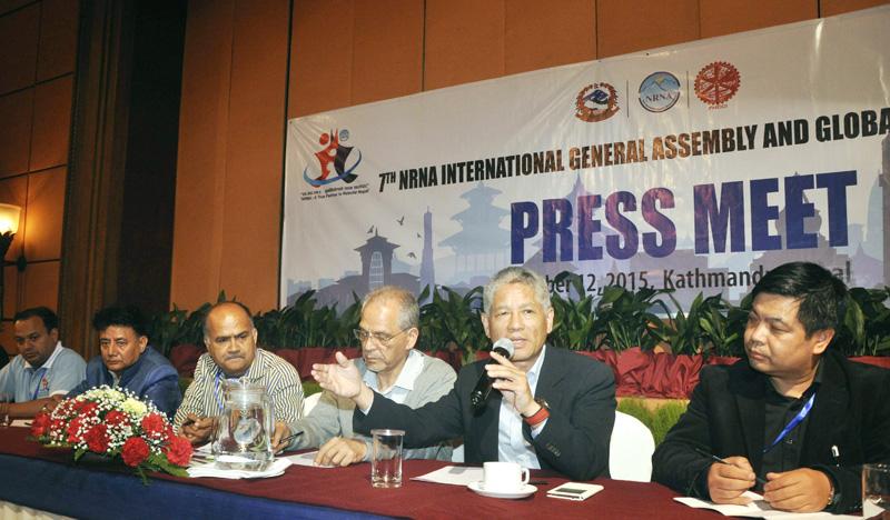 NRNA President Shesh Ghale addressing a press meet, in Kathmandu, on Monday. Photo: THT