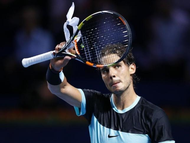 Rafael Nadal of Spain reacts after winning his match against Bulgaria's Grigor Dimitrov at the Swiss Indoors ATP men's tennis tournament in Basel, Switzerland October 28, 2015.   REUTERS/Arnd Wiegmann