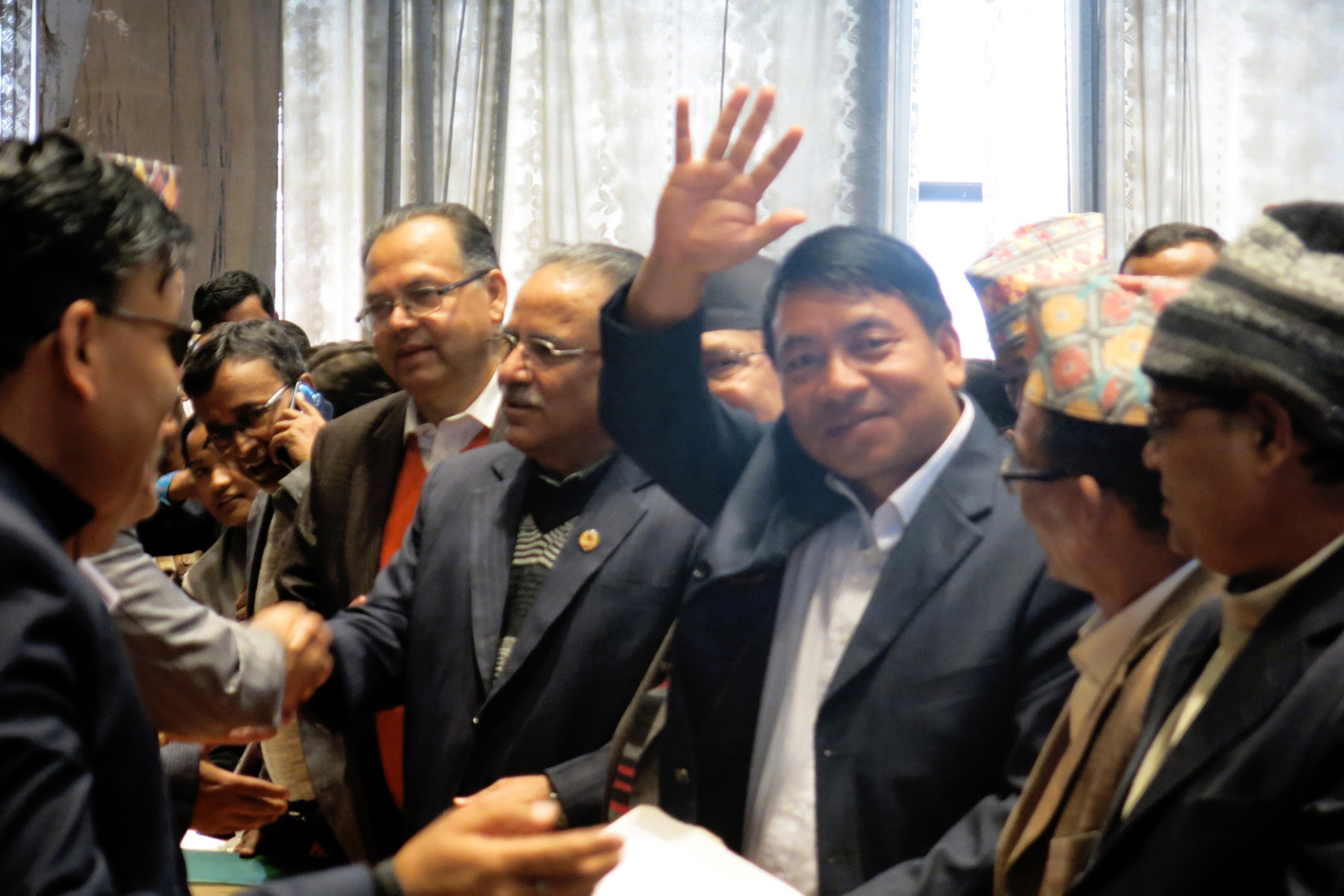UCPN-Moaist leader Nanda Kishor Pun waves to media persons after filing his candidacy for the election of Vice-President at the Legislature-Parliament building in New Baneshwor on Friday, October 30, 2015. Photo: RSS