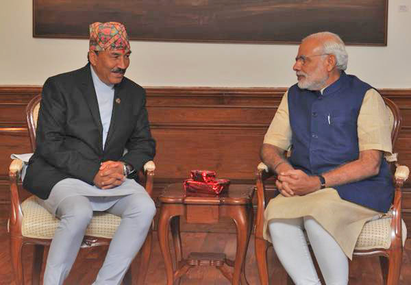 Nepal's Deputy Prime Minister and Minister for Foreign  Affairs Kamal Thapa and India's Prime Minister Narendra Modi (centre) during a meeting in New Delhi. Photo: PIB India