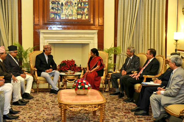 Nepal's Deputy Prime Minister and Minister for Foreign Affairs Kamal Thapa holding a meeting with India's External Affairs Minister Sushma Swaraj on Sunday, October 18, 2015. Photo: MEA
