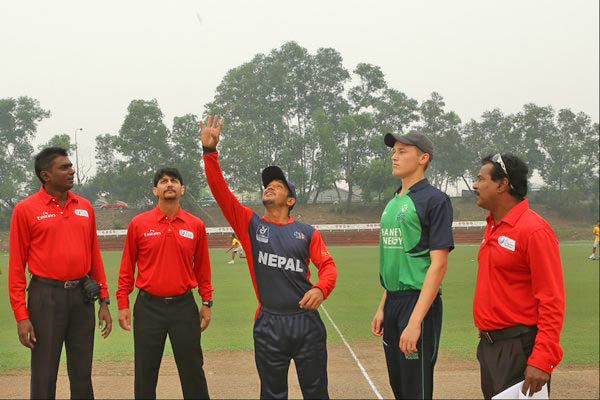 Nepal's captain Raju Rijal tosses coin before Nepa's final league match of ICC Under-19 World Cup Qualifier against Ireland at Kinrara Oval Academy, Kuala Lumpur on Wednesday, October 21. Photo: ICC