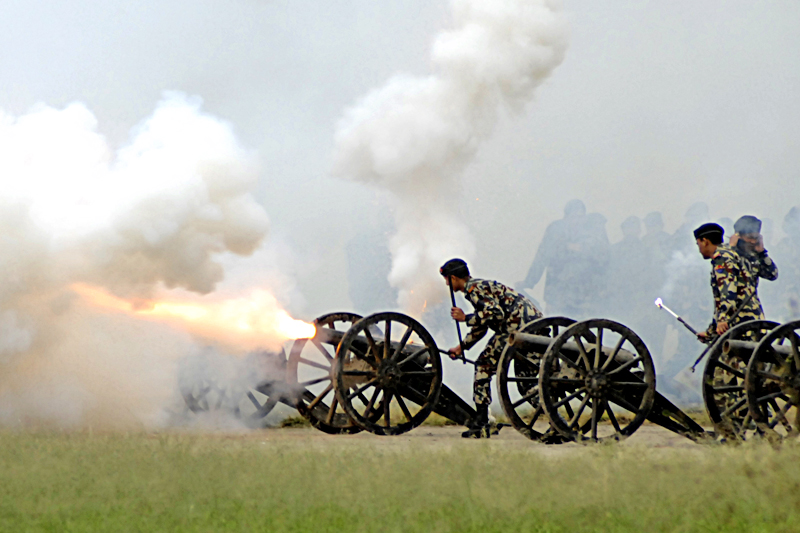 Nepali Army personnel firing a cannon as they perform a 21-cannon salute to newly elected President of Nepal Bidya Devi Bhandari at Tundikhel on Thursday, October29, 2015. Photo: Naresh Shrestha/ THT