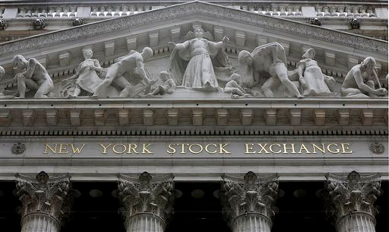 The facade of the New York Stock Exchange, in New York on October 2, 2014. Photo: AP