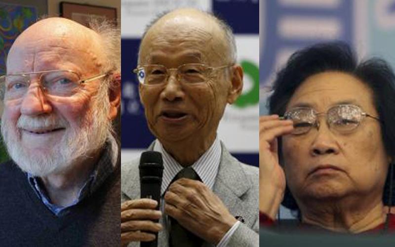 (From left )William Campbell,Satoshi Omura, Youyou Tu