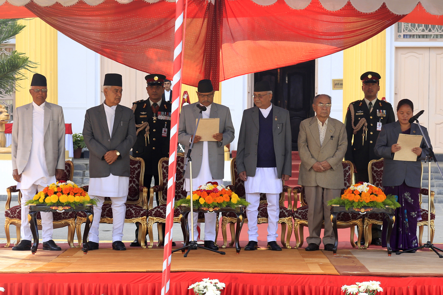 President Ram Baran Yadav administers the oath of office and secrecy to newly elected Speaker Onsari Gharti amid a function in Sheetal Niwas on Sunday, October 18, 2015. Photo: RSS