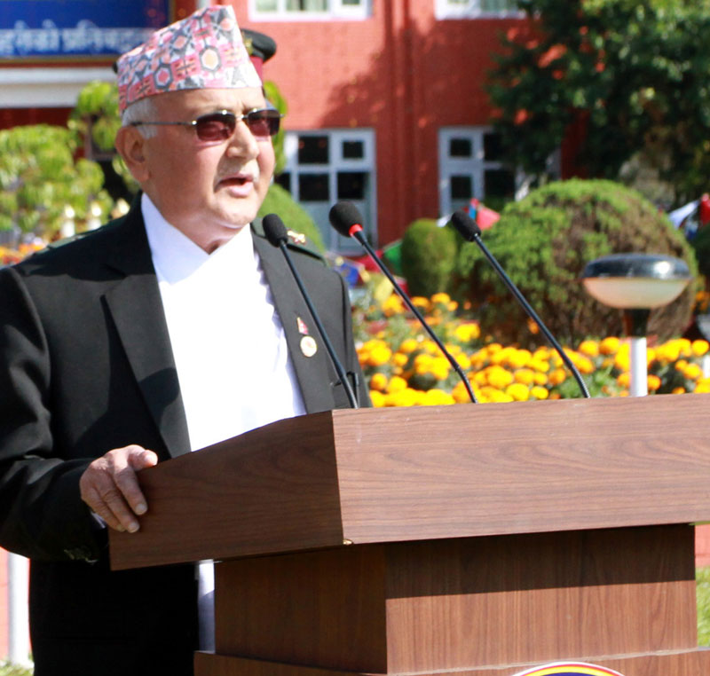 Prime Minister KP Sharma Oli speaking at a programme organised to mark the 60th Police Day at police headquarters in Naxal on Saturday, October 17, 2015. Photo: RSS nn