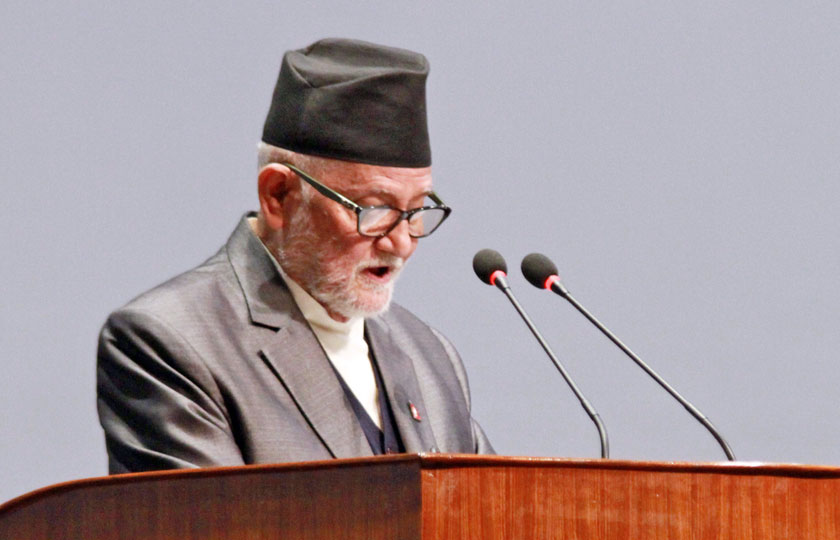 Prime Minister Sushil Koirala making his valedictory speech at the House as the elected head of the government on Friday, October 2, 2015. Photo: RSS