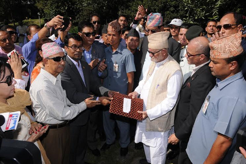 Representatives of private sector handing over a memorandum to Prime Minister Sushil Koirala on Tuesday, October 6. Photo: FNCCI