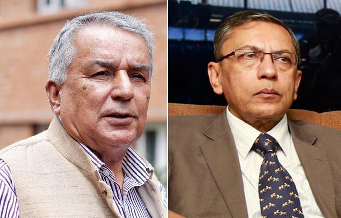 Nepali Congress (NC) Vice-President Ramchandra Paudel (left) and Indian Ambassador to Nepal Ranjit Rae