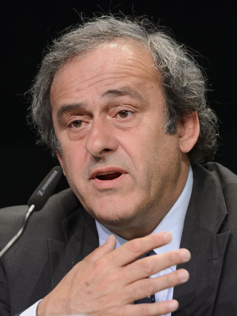 (FILES) -- This file photo taken on May 28, 2015 in Zurich shows UEFA President Michel Platini giving a press conference prior to the 65th FIFA Congress. UEFA is to hold on October 15, 2015 an emergency meeting at its headquarters in Nyon, about the current FIFA corruption scandals and the 90-day ban imposed on Michel Platini by FIFA as part of its corruption investigation. AFP PHOTO / FABRICE COFFRINI