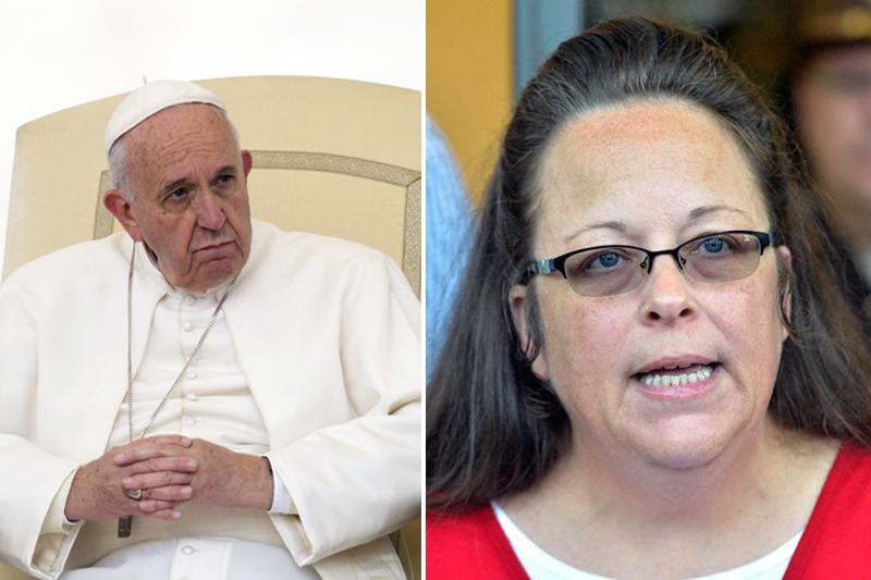 Pope Francis (left) and Rowan County Clerk Kim Davis. Photos: AP