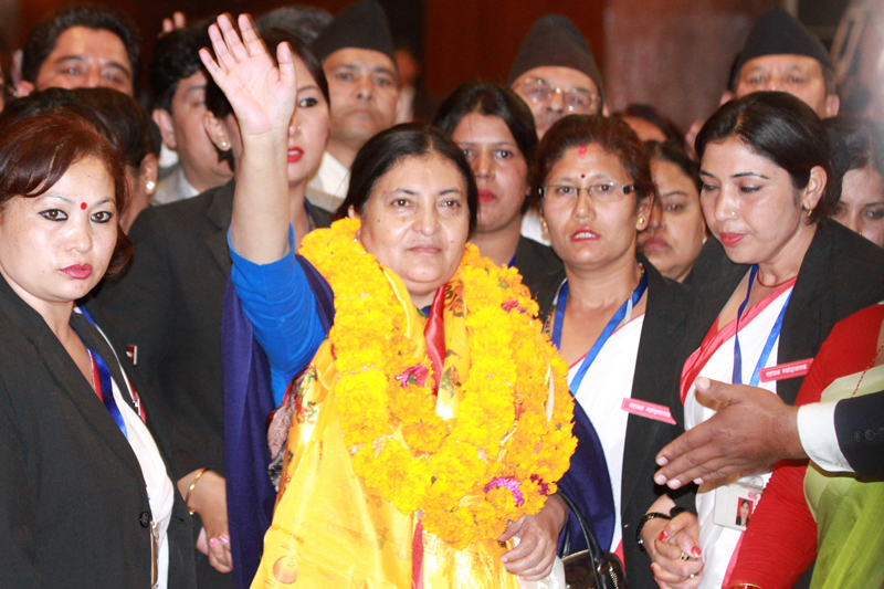 President Bidya Devi Bhandari at the Parliament premises after being elected the Head of State, on Wednesday, October 28, 2015. Photo: RSS