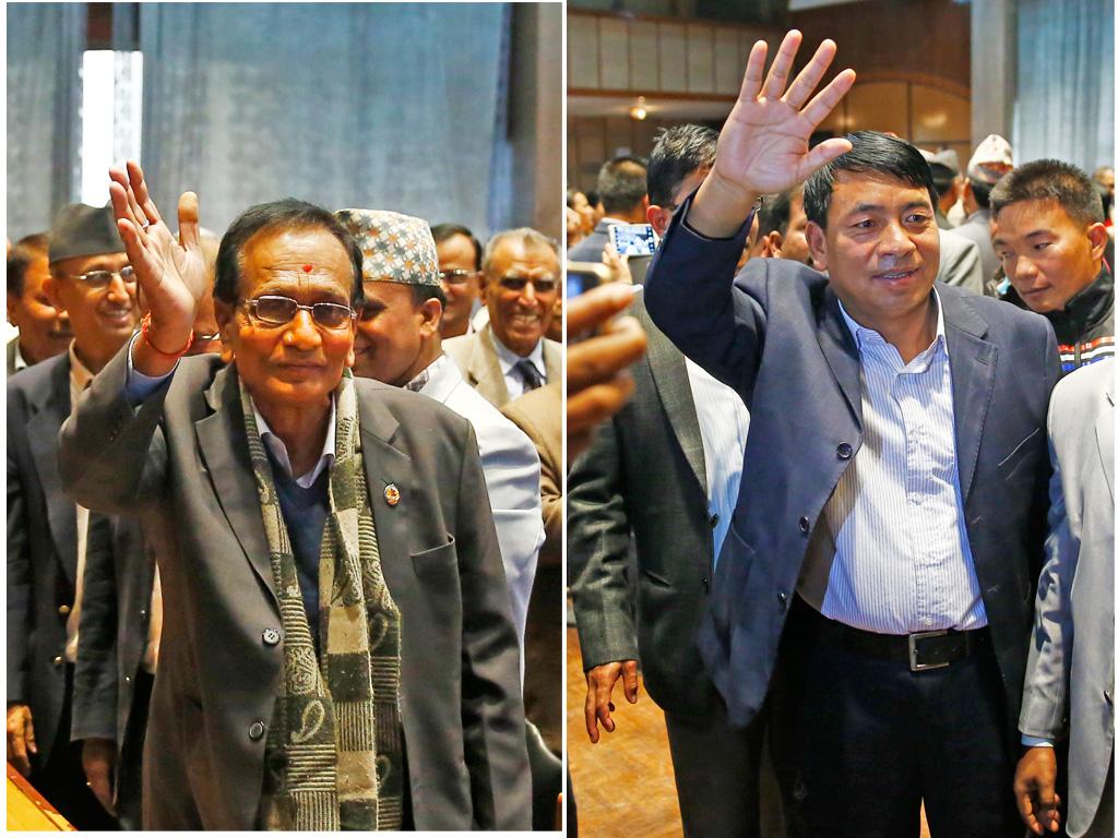 (Left) Nepali Congress vice-presidential candidate Amiya Kumar Yadav waving to mediapersons after filing his candidacy; UCPN-Maoist leader Nanda Kishor Pun waving to mediapersons after filing candidacy for the same post at the Parliament, in New Baneshwor, Kathmandu, on Friday.  Photo: Photos: Skanda Gautam / THT