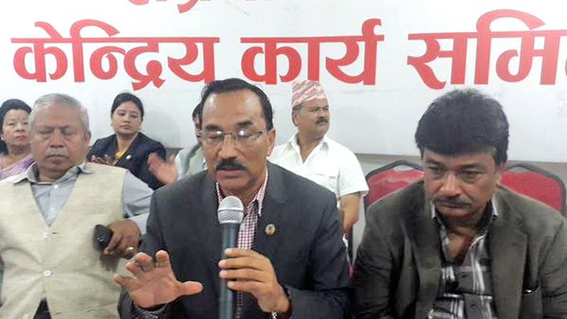 Rastriya Prajatantra Party-Nepal Chairman Kamal Thapa speaking at the Central Committee meeting held at the party's central office in Dhumbarahi on Friday, October 9, 2015. Photo: Mohan Shrestha/Twitter