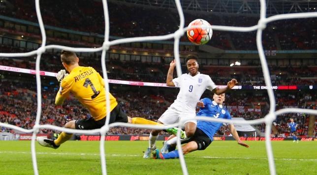 Football - England v Estonia - UEFA Euro 2016 Qualifying Group E - Wembley Stadium, London, England - 9/10/15nEngland's Raheem Sterling scores their second goalnReuters / Darren Staples
