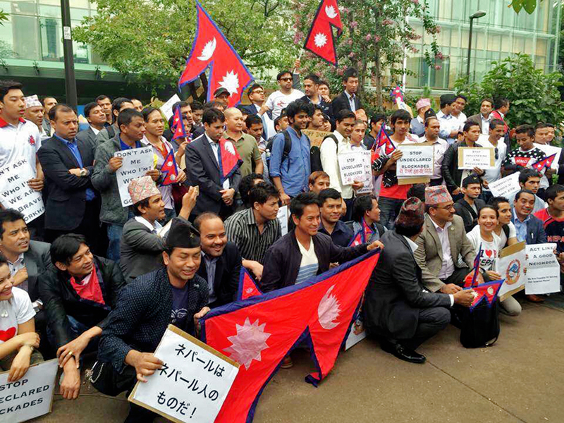 Nepalese living in Tokyo demonstrating outside the Embassy of India in Tokyo, Japan. Photo: RSS