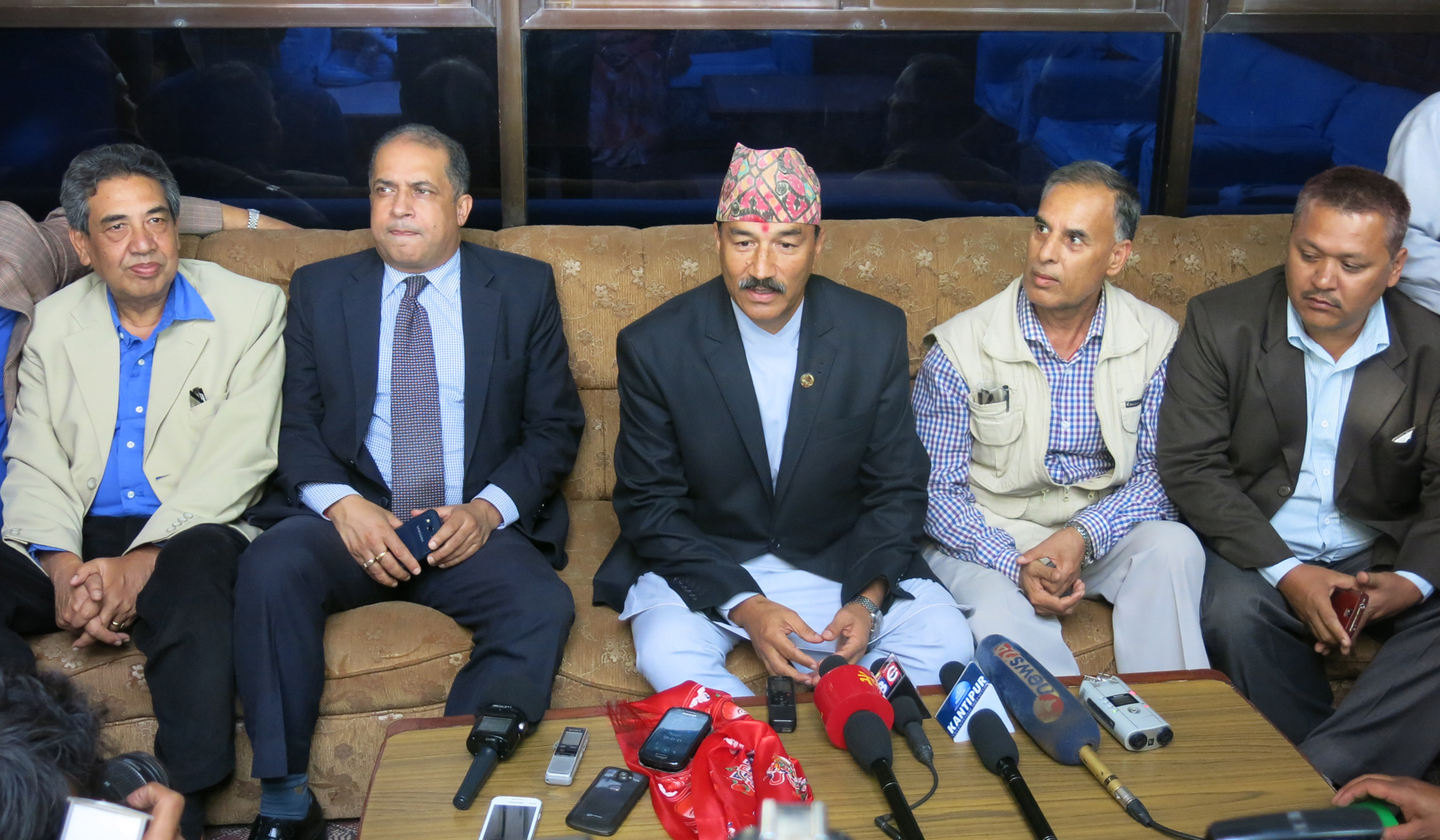 Deputy Prime Minister and Minister for Foreign Affairs Kamal Thapa talking to mediapersons after his return from New Delhi, at Tribhuvan International Airport, in Kathmandu, on Monday, October 19, 2015. Photo: RSS