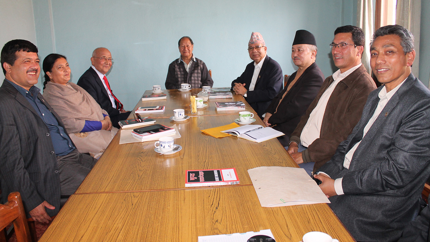 PM KP Sharma Oli holding a meeting with Chairman of Nepal Workers and Peasants Party Narayanman Bijukchhe (centre) in October 2015. Photo: RSS
