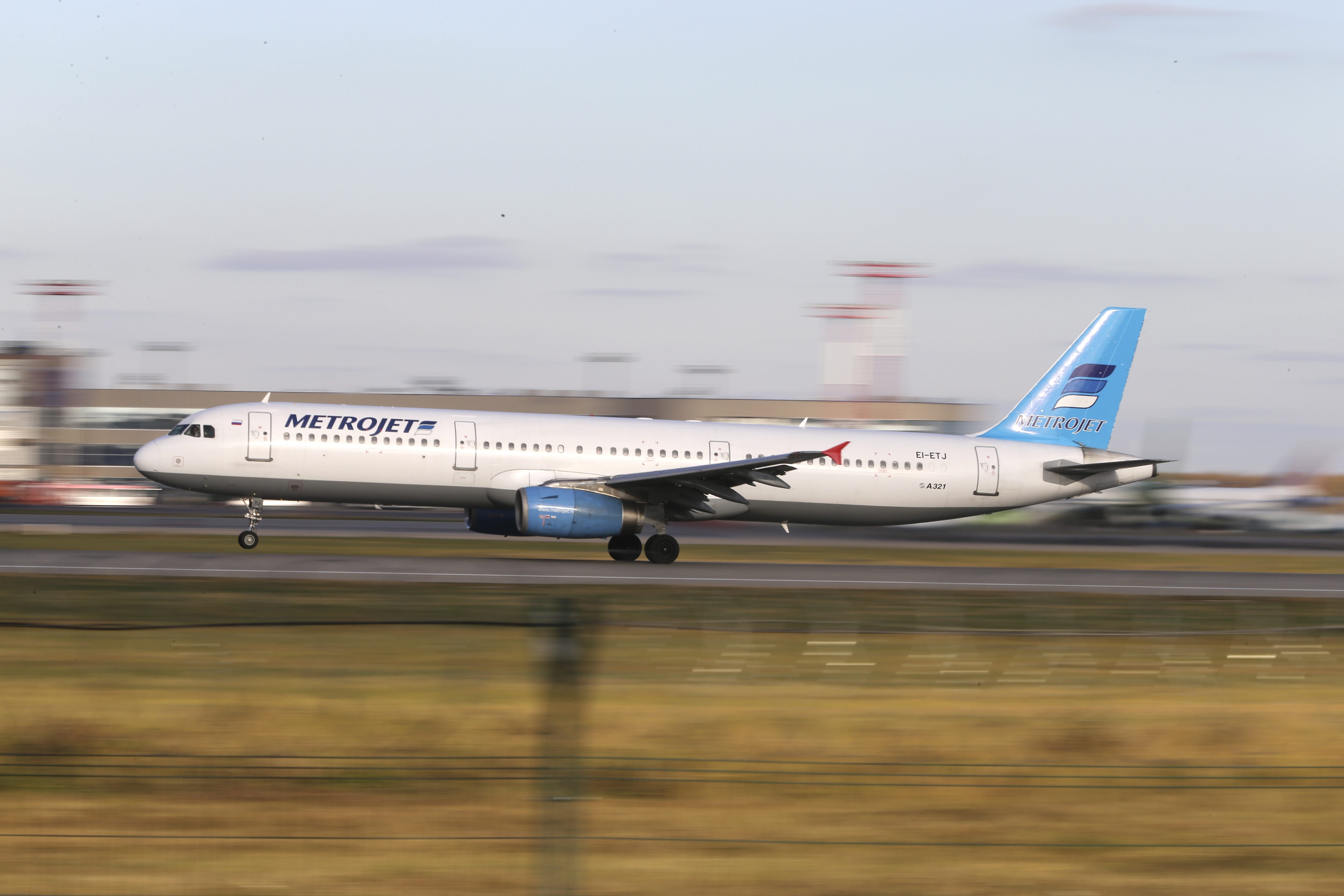 In this photo taken on Tuesday, Oct.  20, 2015, The Russian airline Kogalymaviau0092s Airbus A321 with a tail number of EI-ETJ on an airstrip of Moscowu0092s Domodedovo international airport, outside Moscow, Russia.  Russia's civil air agency is expected to have a news conference shortly to talk about the Russian Metrojet passenger plane EI-ETJ, that Egyptian authorities say has crashed in Egypt's Sinai peninsula. (AP Photo/Marina Lystseva)