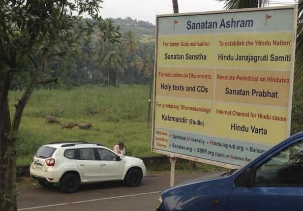 A signboard of the Sanatan Sanstha ashram is seen in this picture near Ponda in the western state of Goa, India, October 15, 2015. REUTERS/Frank Jack Daniel