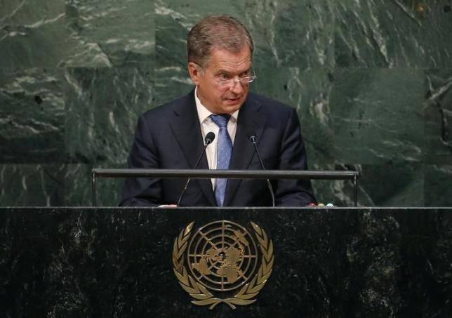 President Sauli Niinisto of Finland addresses attendees during the 70th session of the United Nations General Assembly at the U.N. headquarters in New York, September 29, 2015.    REUTERS/Mike Segar