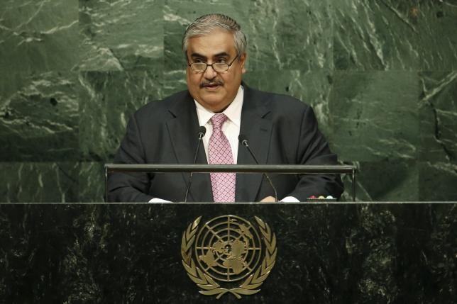 Bahrain's Foreign Minister Sheikh Khaled bin Ahmed al-Khalifa addresses attendees during the 70th session of the United Nations General Assembly at U.N. Headquarters in New York, October 2, 2015. REUTERS/Mike Segar