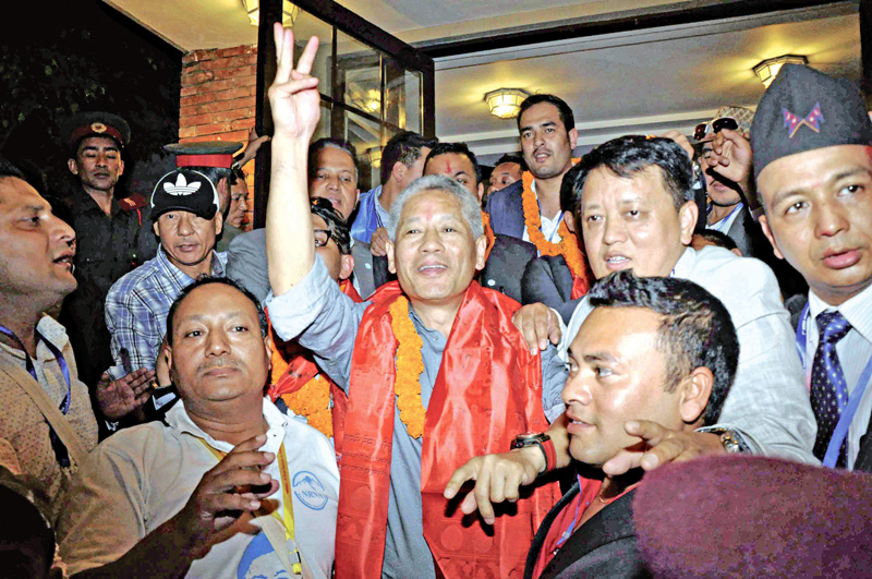 Shesh Ghale celebrating victory after the announcement of NRNAu0092s ICC election results, in Kathmandu, on Thursday. Photo:THT