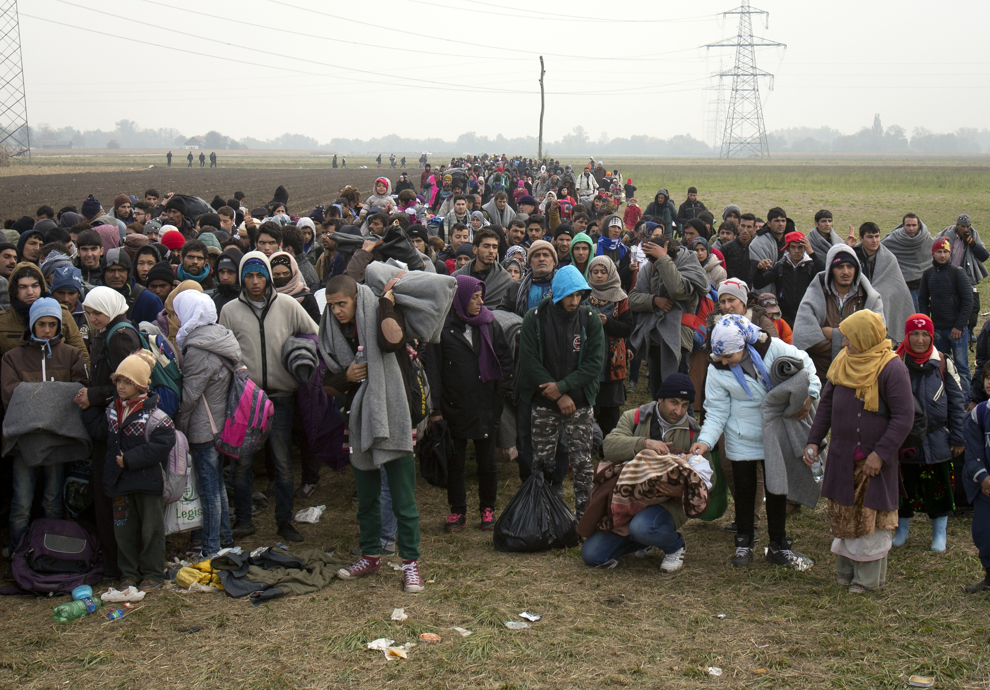 Migrants move through fields after crossing from Croatia, in Rigonce, Slovenia, Tuesday, October 27, 2015. Photo: AP