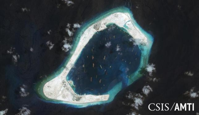 Subi reef, located in the disputed Spratly Islands in the South China Sea, is shown in this handout Centre for Strategic and International Studies (CSIS) Asia Maritime Transparency Initiative satellite image taken September 3, 2015 and released to Reuters October 27, 2015. Photo: CSIS Asia Maritime Transparency Initiative/ DigitalGlobe via Reuters