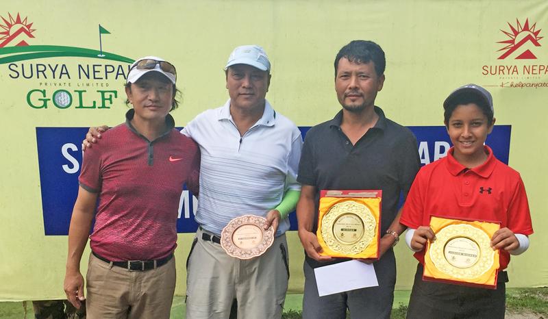 (From left) Phintso Ongdi Lama, Purna Shakya, Sonam Norbu Lama and Mayank Dahal after the Surya Nepal Gokarna Monthly Medal at the Gokarna Golf Club in Kathmandu on Saturday. Photo Courtesy: Gokarna Golf Club