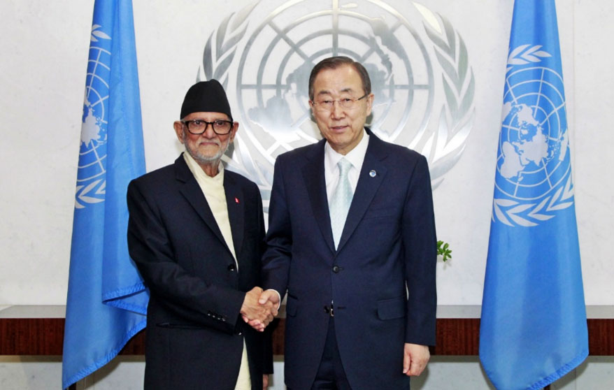 File- Nepal's Prime Minister Sushil Koirala shakes hand with UNSG Ban Ki-moon at the UN headquarters on Friday, June 20, 2014.