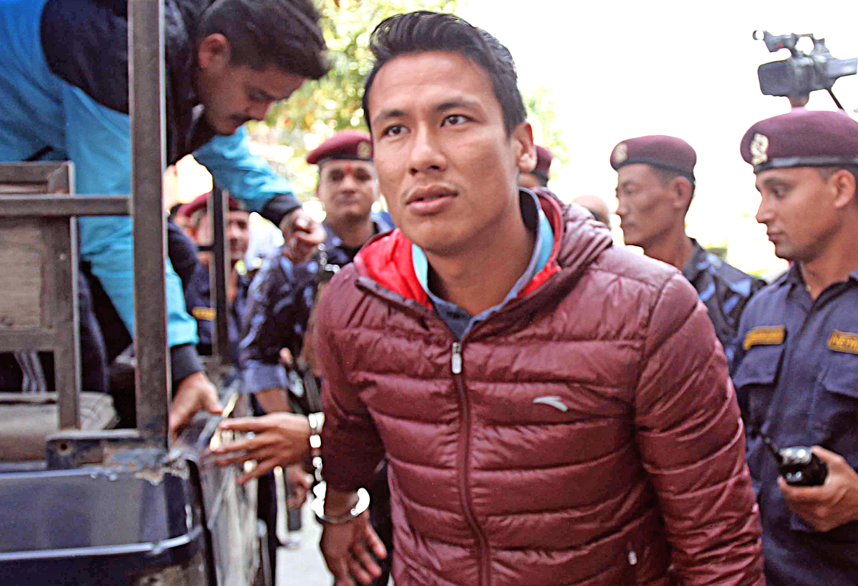 Suspended skipper Sagar Thapa arriving at the Special Court in Babarmahal on Tuesday, October 27, 2015. Photo: Udipt Singh Chhetry/ THT