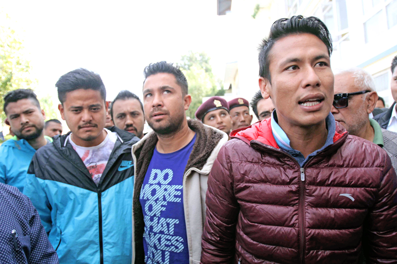 Suspended skipper Sagar Thapa talks to media persons upon his arrival at the Special Court in Babarmahal on Tuesday, October 27, 2015. Photo: Udipt Singh Chhetry/ THT