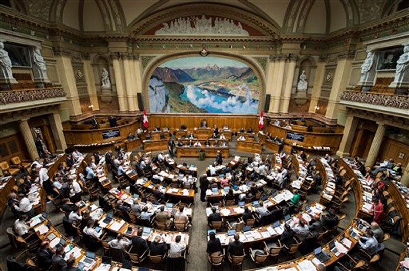 An overview of the Swiss parliament in Bern, Switzerland on September 15, 2014. Photo: AP