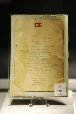 A lunch menu for the Titanic is on display at Bonham's auction house in New York April 10, 2012. REUTERS/Keith Bedford