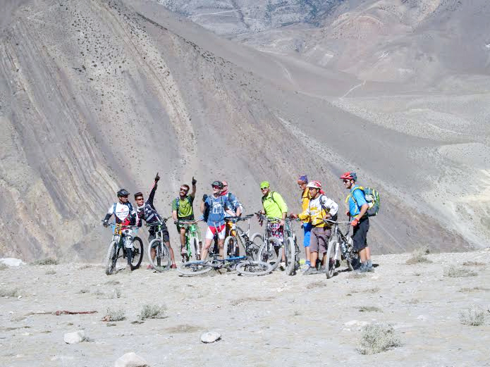 A team of tourists riding bicycles in Mustang district, on Friday, October 16, 2015. Photo: Rishi Ram Baral