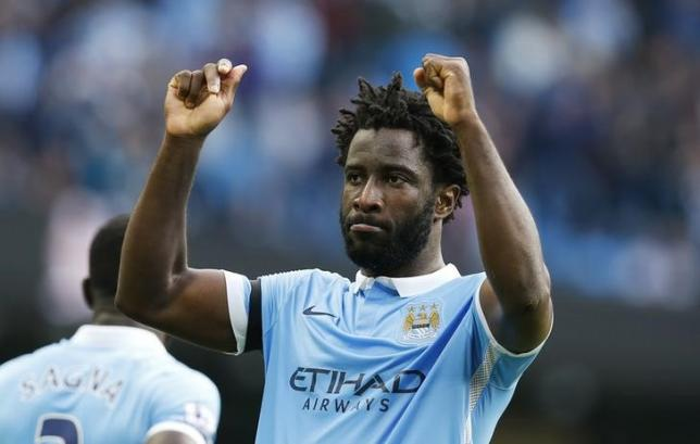 Football - Manchester City v AFC Bournemouth - Barclays Premier League - Etihad Stadium - 17/10/15. Manchester City's Wilfried Bony celebrates scoring their fifth goal. Reuters / Andrew YatesnLivepic