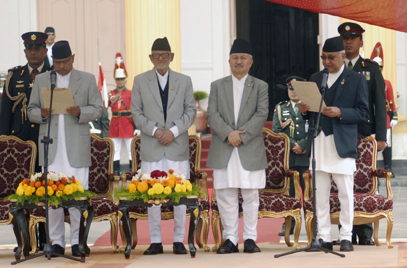 President Ram Baran Yadav administers the oath of office and secrecy to Prime Minister KP Sharma Oli at the Sheetal Niwas of Kathmandu, on Monday, October 12, 2015.nPhoto: Bal Krishna Thapa/THT